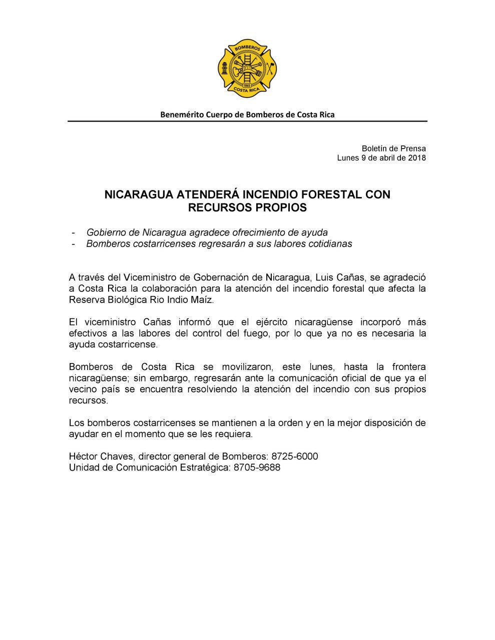 Government refuses aid from Costa Rica